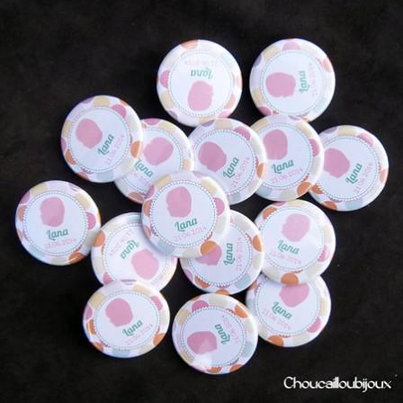 Badges Personnalisés Baptême Lana - Pois Pastels