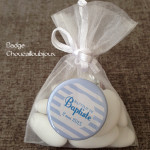 Badges Personnalisés Baptême Baptiste & Jeanne - Rayures Bleu-Blanc-Rose