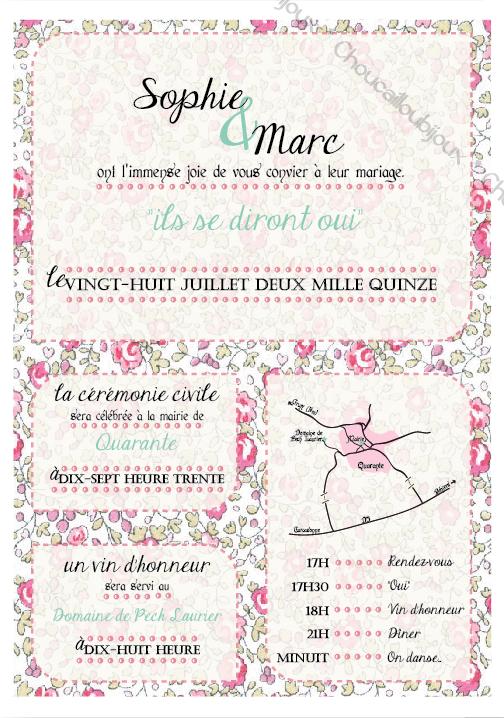 Faire part liberty r tro romantique choucabi for Code vestimentaire d invitation de mariage