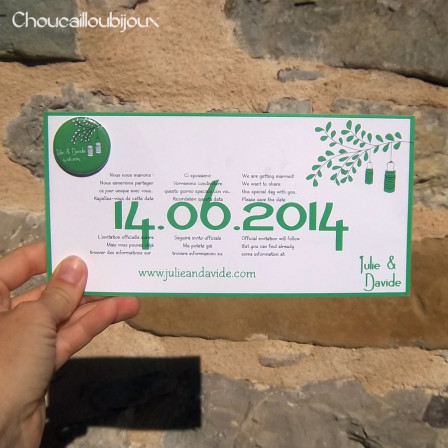 Save the Date - Lampions Verts & Blancs