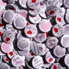 Mariage «New-York Italie», badges personnalisés de Charlotte & Maxime