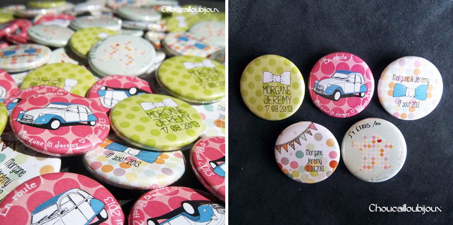 badges personnalis u00e9s pour un mariage