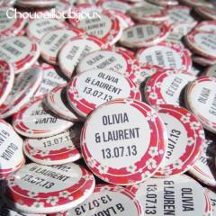 Badges mariage personnalisés Olivia & Laurent – Vintage Liberty