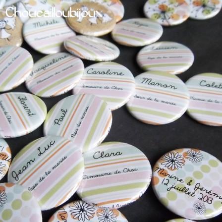 """Mariage """"Pois & Rayures Pastels"""", badges personnalisés de Marine & Jérémie"""