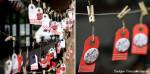 """Mariage """"Rouge Guinguette"""", badges personnalisés de Muriel & David"""